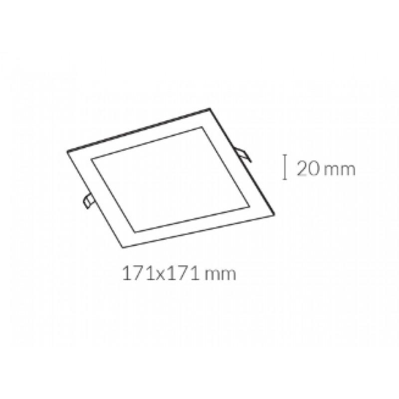 Downlight lamp DISC SQUARE 17,1 x 17,1 cm