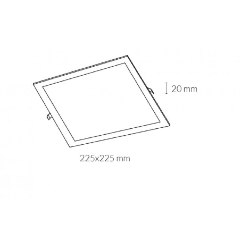 Downlight lamp DISC SQUARE 22,5 x 22,5 cm