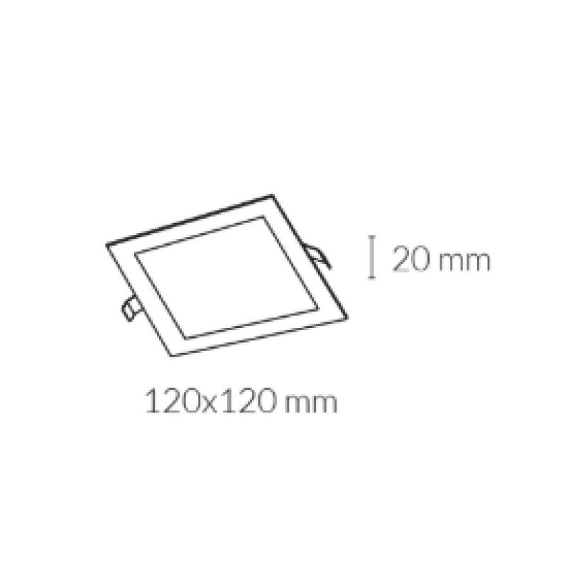 Downlight lamp DISC SQUARE 12 x 12 cm
