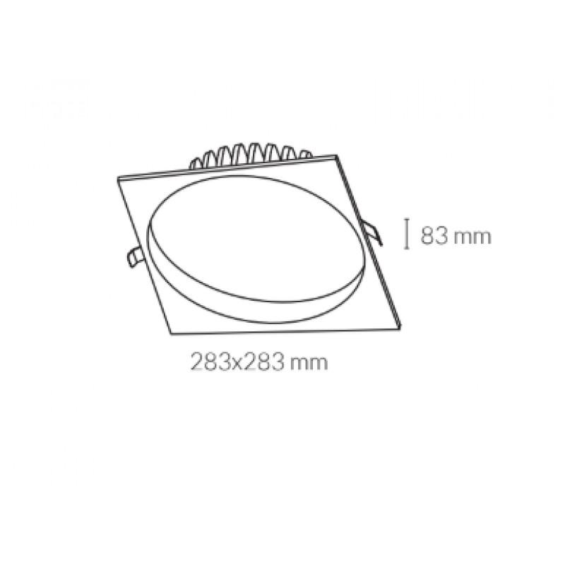 Downlight lamp LIM SQUARE 28,3 x 28,3 cm