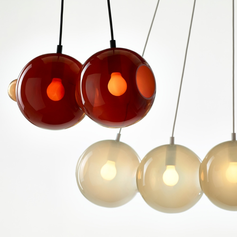 Pendant lamp PENDULUM 3 POSITION DARK RED & LI...
