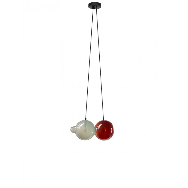 Pendant lamp PENDULUM 2 POSITION LIGHT GREY & DARK RED