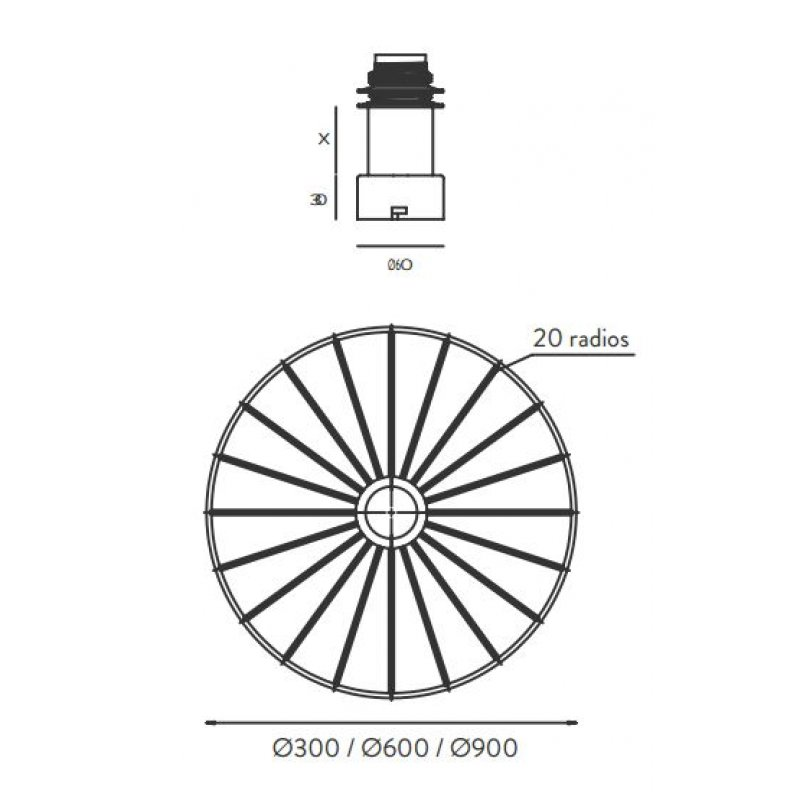 Wall lamp Wheel Black/White