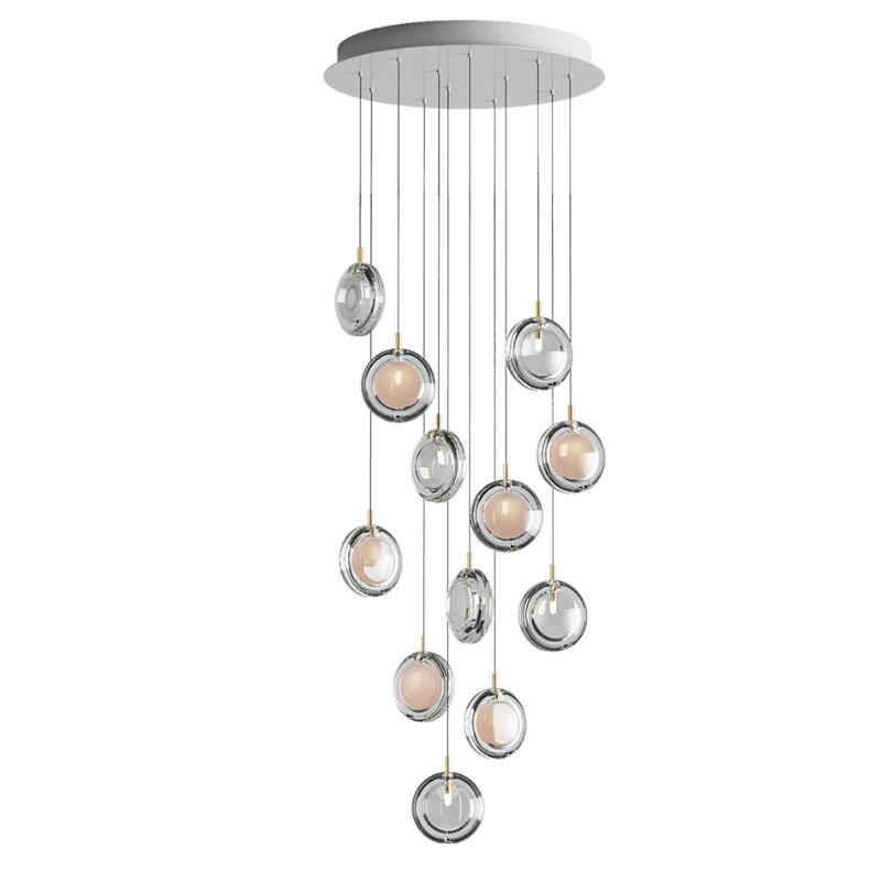 Pendant lamp LENS CHANDELIER / 12 PCS 6X WHITE / 6X CLEAR