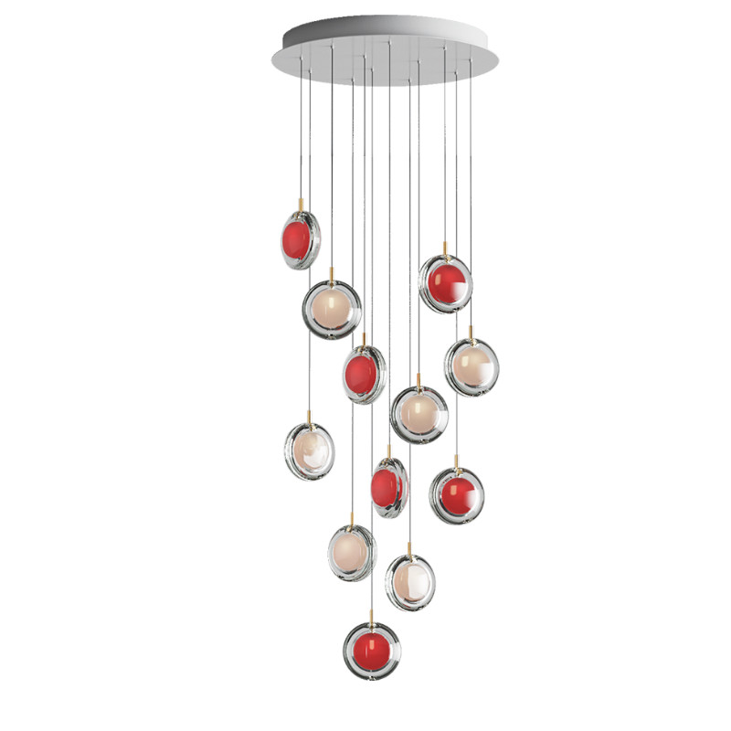 Pendant lamp LENS / 12 PCS 6X WHITE / 6X RED