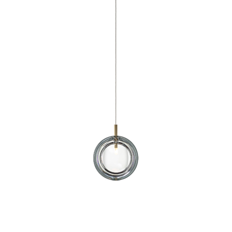 Pendant lamp LENS SINGLE CLEAR / BRUSHED BRASS