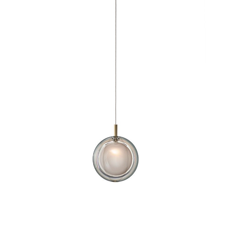 Pendant lamp LENS SINGLE WHITE / BRUSHED BRASS