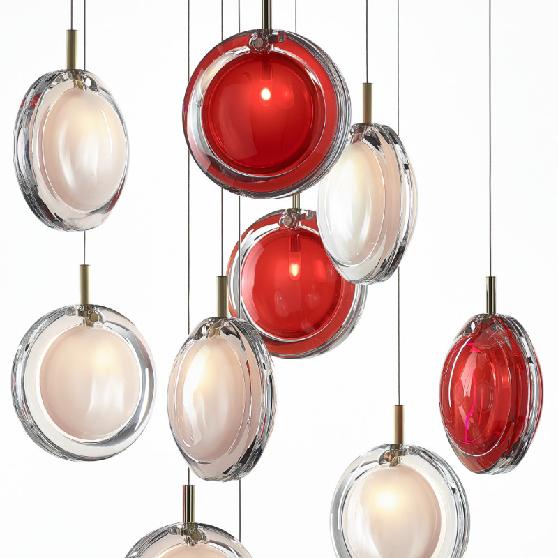 Pendant lamp LENS SINGLE RED / BRUSHED BRASS
