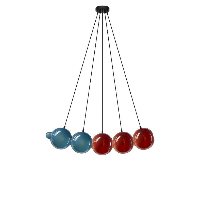 Pendant lamp PENDULUM 5 POSITION PIGEON BLUE & DARK RED
